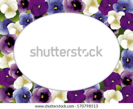 Pansy Flower Picture Frame. Spring Violas in lavender, purple, blue, white, Oval  copy space for posters, stationery, scrapbooks, albums. Also called Heartsease. EPS8 includes clipping path.