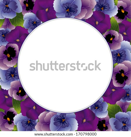 Pansy Flower Picture Frame. Spring Violas in lavender, purple, blue with round copy space for posters, stationery, scrapbooks, announcements. Also called Heartsease. EPS8 includes clipping path.