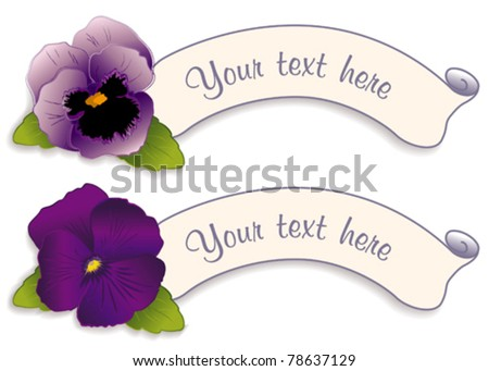 Pansy Labels, lavender and deep purple spring garden flowers, two Victorian style tags with copy space to customize with your text. Viola hortensis. EPS8 compatible.