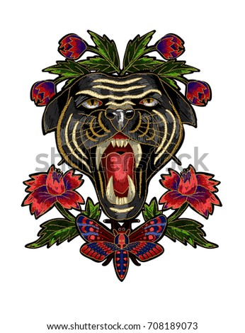 Panther, butterfly and flowers embroidery patch for textile design.