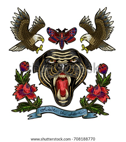 Panther, eagle, butterfly and flowers embroidery patch for textile design.