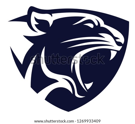 Panther head shield blue icon vector
