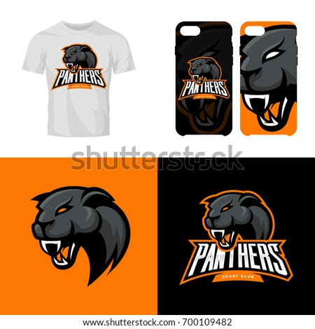 Panther head sport club isolated vector logo concept. Modern professional team badge mascot design. Premium quality wild animal t-shirt tee print illustration. Smart phone case accessory emblem.