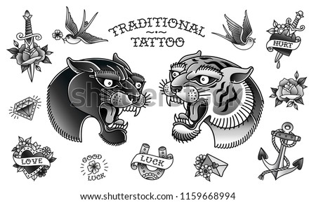 Panther Head with Tiger Head and Traditional tattoo black and white objects collection. Old school tattoo set of retro style panter and tiger head isolated from white background. Vector illustration