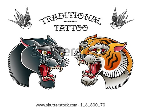 Panther Head with Tiger Head Traditional Old school tattoo elements collection. Vector tattoo set of retro style panter and tiger head isolated from white background, grouped and on separate layers