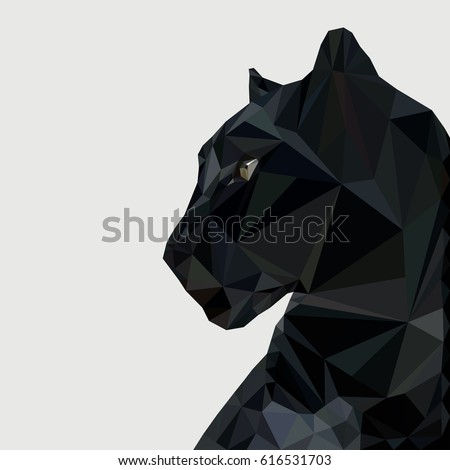 Panther in low poly triangular style vector illustration