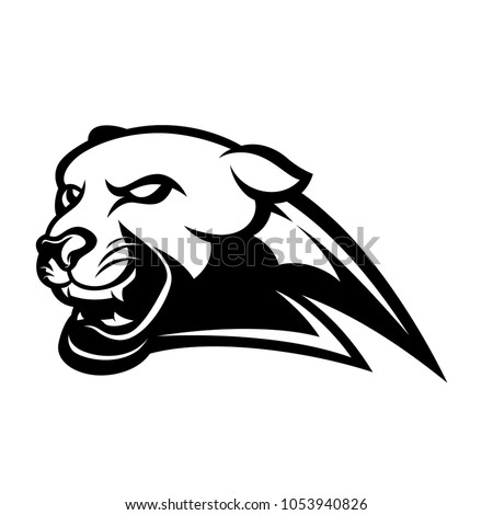 Panther logo emblem black and white