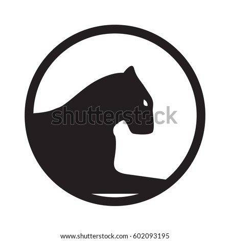 Panther logo. Emblem, mascot or team symbol. Vector head of wildcat in a circle.