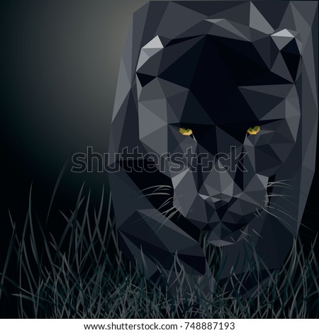 Panther. Polygonal black panther. Vector.
