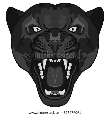 Panther Portrait. Angry Black wild cat head cartoon style. Aggressive puma with bared teeth, predator tattoo, t-shirt print design