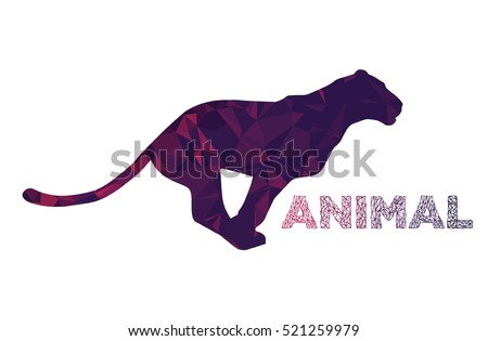 Panther, puma, wild cat sign with text. Running animal logo, label, mascot, symbol, icon template. Polygonal illustration, idea of corporate sign for business and sport. Vector   artistic silhouette.