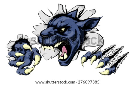 Panther sports mascot breakthrough concept of a panther sports mascot or character breaking out of the background or wall
