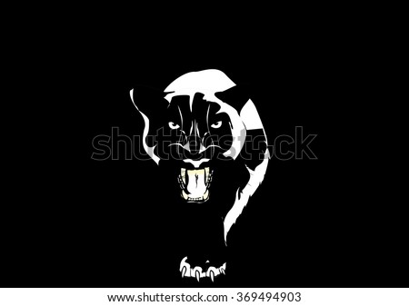 panther walking from dark