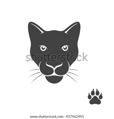 Panther with paw print. Vector illustration