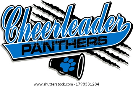 panthers cheerleader team design in script with tail for school, college or league ストックフォト ©