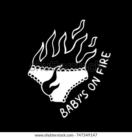 panties on fire illustration traditional tattoo flash