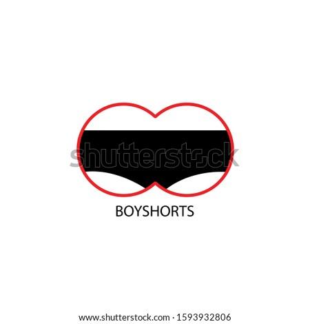 Panties symbol. Woman underwear type: boyshorts. Basic color: black. Vector illustration, flat design. On a white background, eps 10, adult material +18