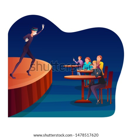 Pantomime, dumb show flat vector illustration. Professional mime, actor and amused audience cartoon characters. Comedian with white facial makeup entertaining club visitors. Funny silent comedy