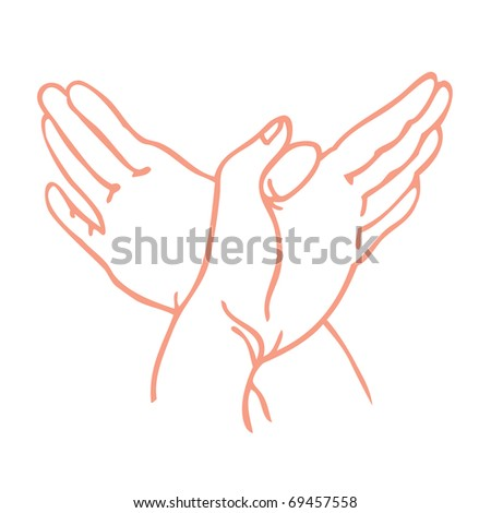 pantomime - hands symbolizing a dove