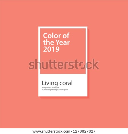 Pantone Color of the year 2019. Color trend palette. Vector illustration Vector mockup. Living Coral