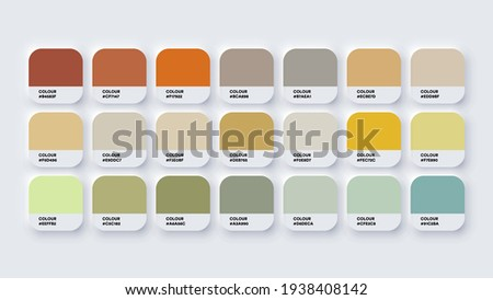 Pantone Colour Palette Catalog Samples Yellow and Green in RGB HEX. Neomorphism Vector ストックフォト ©