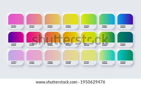 Pantone Gradient Colour Palette Catalog Samples in RGB or HEX Pastel and Neon Stock photo ©