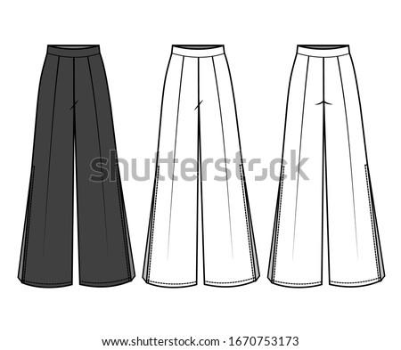 Pants for Ladies fashion Flat Templates Stockfoto ©