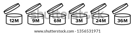 Pao vector icons of cosmetic open month life shelf, expiration period months PAO symbols set