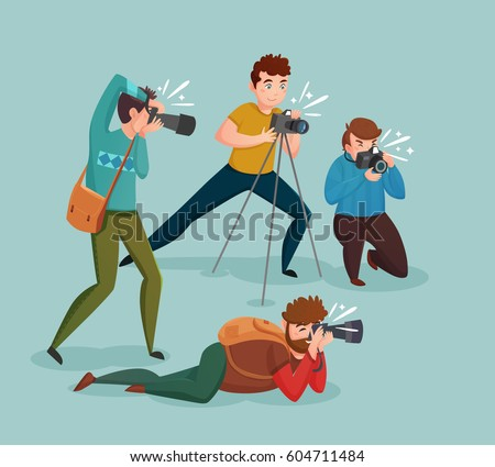 Paparazzi design concept with photographers group shooting appearance of show business stars or other celebrities flat vector illustration  - Shutterstock ID 604711484
