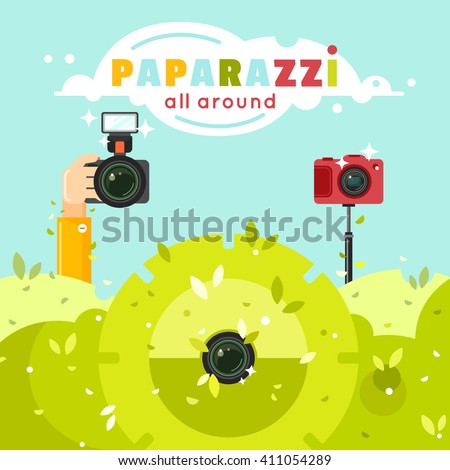 Paparazzi photographers hiding in green bushes with photo cameras, vector illustration. Journalists sit in ambush and make sensational shot. Paparazzi all around concept in flat style