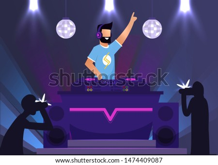 Paparazzi Taking Photos with Disc Jockey Super Star. DJ Stage Performance in Nightclub. Night Club Dance Party. Clubbing Evening with Celebrity. Dee-jay MC Playing Music. Vector Cartoon Illustration