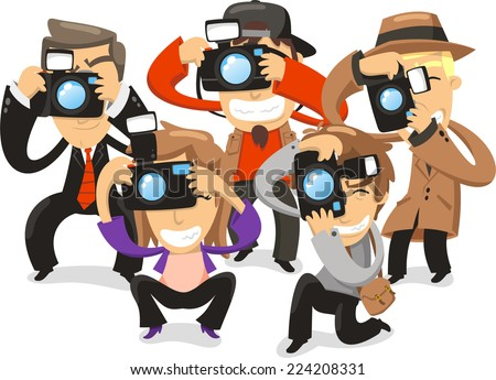 Paparazzi taking pictures photograph camera, vector illustration cartoon.