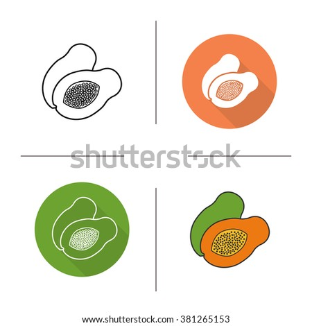 papaya flat design  linear and