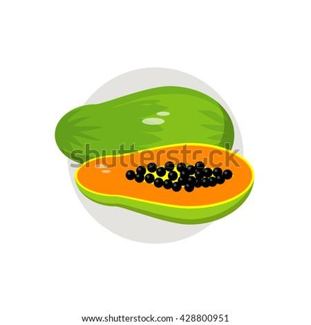 papaya icon flat vector
