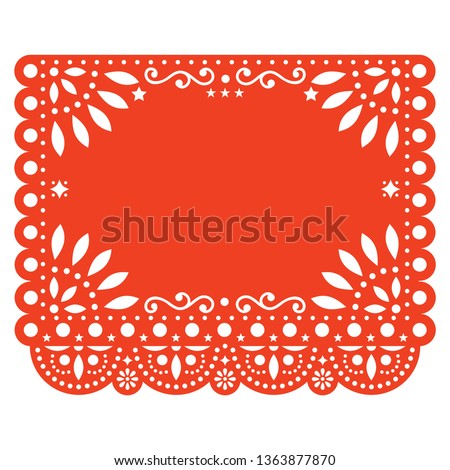 Papel Picado vector floral template design with abstract shapes, Mexican paper decorations pattern in orange, traditional fiesta banner with empty space for text. Folk art, retro ornament form Mexico Foto stock ©