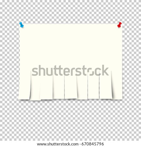 Paper ad with tear-off papers on a transparent background. Vector illustration.