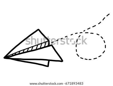 paper airplane / cartoon vector and illustration, black and white, hand drawn, sketch style, isolated on white background.