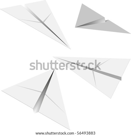 paper airplane in different angles - stock vector