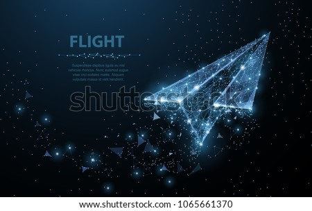 Paper airplane. Low poly wireframe mesh looks like constellation on dark blue background with dots and stars. Stardust trail effect. Travel, freedom and aviation concept illustration or background