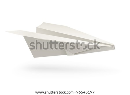 paper airplane origami vector illustration isolated on white background - stock vector