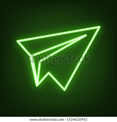 paper airplane sign green neon