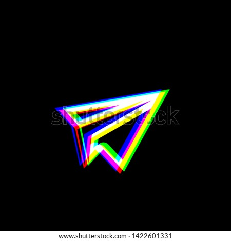 paper airplane sign red  green