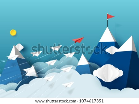 paper airplanes flying above