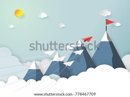 Paper airplanes flying above mountains that look like growing graph.Paper art style of start up and business teamwork creative concept idea.Vector illustration