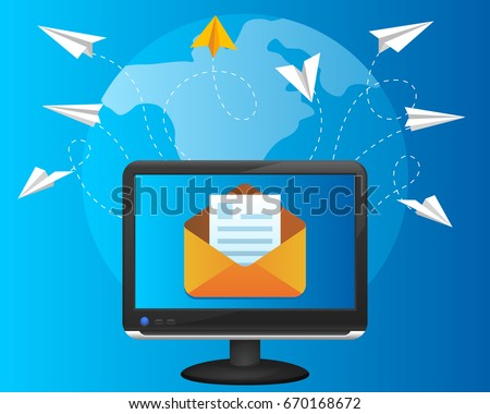 Paper airplanes flying around the world. Computer sends letters. Email vector illustration