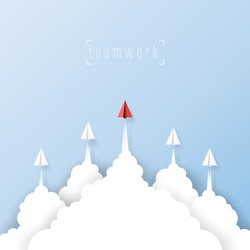 Paper airplanes flying from clouds on blue sky.Paper art style of business leadership and teamwork creative concept idea.Vector illustration.