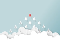 Paper airplanes flying from clouds on blue sky.Paper art style of business teamwork creative concept idea.Vector illustration