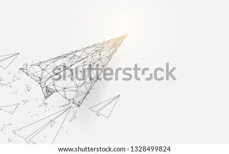 Paper airplanes flying from lines, triangles and particle style design. Illustration vector Stock photo ©