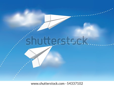 Paper airplanes in the sky