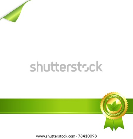 Paper And Eco Award Ribbon, Isolated On White Background, Vector Illustration